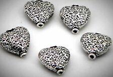 5 premium  silver plated copper fancy heart focal beads 16 mm .