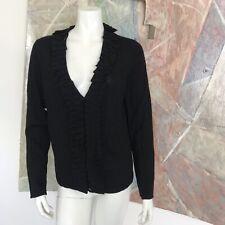 Elena Solano Italian Merino Wool Black Cardigan Sweater Size Large