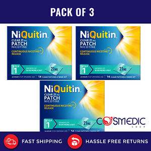 3x NIQUITIN CLEAR 21mg  - Step 1 3x14 or 6x 7. Patches = 42 patches