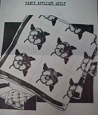 Vintage Quilt Pattern Mail Order Classic Pansy Applique 1930s Blanket Stitch