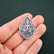 2 Buddha Pendant Charms Antique Silver Tone 2 Sided Beautiful Design - SC5992