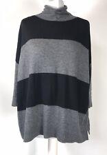 WHISTLES Black & Grey Stripe Wool Blend Boxy Oversized Roll Neck Jumper Size S