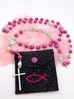 🌹 Rosenkranz Pink 💗 Wunschname mit Strass 💎 Kommunion 🕊 Konfirmation Taufe