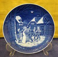 1987 Bing & Grondahl Christmas Plate Snowman Christmas Denmark Danish Blue