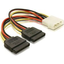 Molex to 2 x SATA Power Dual Power Adapter Y Splitter Pc Power to S-ata E1113