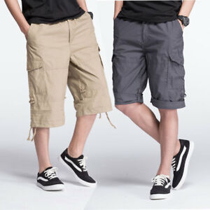New Men Cargo Pants Shorts Military Casual Trousers Sport Loose Multi-pocket 7XL