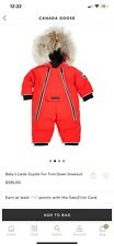 Baby's Lamb Coyote Fur-Trim Down Snowsuit - RED Authentic Canada Goose 3/6