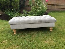 Grey velvet fabric stool footstool coffee table large .....