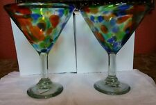 1 Pair Hand Blown Mexican Colorful Martini Glasses Made in Mexico