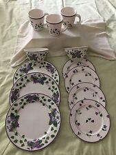 "Waverly Garden Room ""SWEET VIOLET"" Mixed Lot of Dinnerware 12 Pieces"