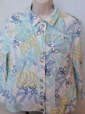 Ladies Hearts of Palm Cotton Spandex Blue Green White Jean Jacket Floral Sz 12