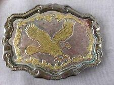 W USA Eagle In Flight & Laurel Leaf Belt Buckle Tri-Color USA Made