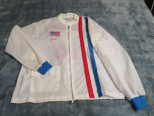 New listing Vintage 1970's Xl Chain Stitched Racing Stripe Windbreaker, Jacket- Named / Flag