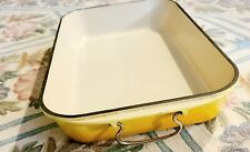 Vintage Buttercup Yellow Cast Iron Le Creuset Roasting Pan w Metal Handles EXC