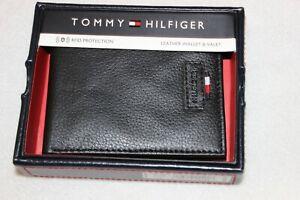 Tommy Hilfiger Men's Black Genuine Leather RFID Protection Bifold Wallet NIB $48