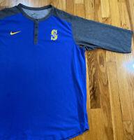 Nike Seattle Mariners Baseball T Shirt 3/4 Sleeve Used Men's Size XL Blue Grey