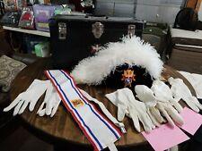 Knights of Columbus Plume Hat Case, Sash, 4 gloves Lot