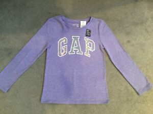 GAP-LILAC LONG SLEEVE T.SHIRT WITH LOGO IN LILAC SEQUINS EDGED IN WHITE -BNWT