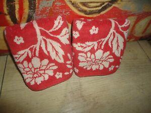 RALPH LAUREN DARK CORAL CREAM FLORAL (2PC) HAND TOWEL SET 14 X 27