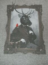 AEROPOSTALE HUMAN DEER PORTRAIT RED BIRD IN FRAME- LARGE GRAY T-SHIRT-B1148