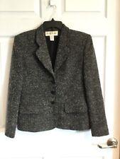 Rena Rowan women's 8 black gray tweed blazer long sleeve. Fully lined -