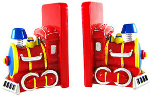 Zeckos Charming Red Train Engine Bookends