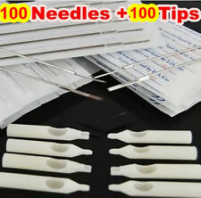 100x Assorted TATTOO Needles  & 100x Disposable Tips