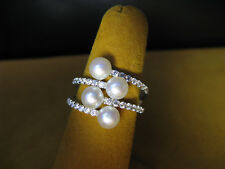 PEARL HONORA RING BYPASS SIZE 7 WHITE SILVER SS SWAROVSKI ZIRCONIA CZ CRYSTALS