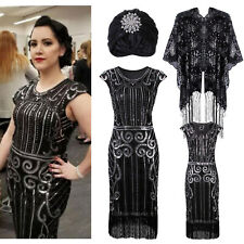 Vintage Fringed 1920s Inspired Beaded Flapper Gatsby Evening Formal Party Dress