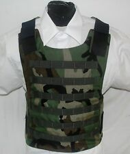 Large Woodland Carrier With Level IIIA Kevlar Body Armor Bullet Proof Vest