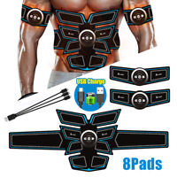 Electronic 8 Pads Abdominal Muscle Toner Abs Hip Trainer EMS Muscle Stimulator