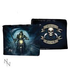 WALLET SKULL HELL RIDER SKULL FOLDING VISA CARDS (not leather) LEATHERETTE NEW