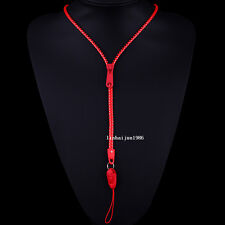 NEW HOT Free shipping zipper necklace Employee's card/key hang rope red  F55