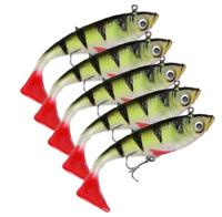 5PCS Jig Soft Fishing Lure Silicone Soft Bait 18g Wobblers Bait T Tail Lead Fish