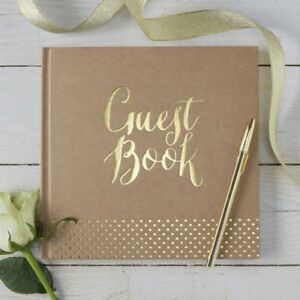 Ginger Ray Wedding Guest Book Kraft Gold Foiled Design KP-511