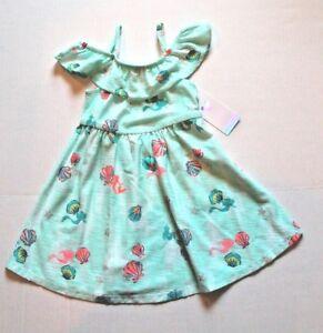 Disney Jumping Beans Little Mermaid Ariel Shells Aqua Knit Dress Toddler Girl 2T