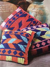 KNITTING PATTERN 3 Aztec Design Cushion Covers Intarsia Diamond Patons PATTERN