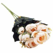 1 Bouquet 9 head Artificial Silk cloth Fake Flowers Leaf Peony Floral Home W6N4