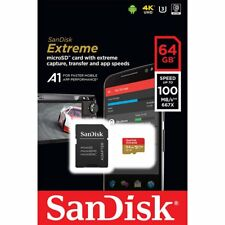 SANDISK 64Go EXTREME CLASS 10 UHS-I U3 A1 100Mo/S MICRO SDXC SD XC MEMORY CARD