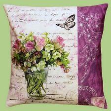 Kissenhülle Kissen Blumen Rosen Schrift Fotoprint Fotodruck
