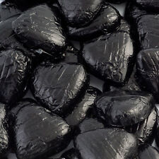 500g Bag Approx 100 BLACK Chocolate Foiled Hearts Luxury Wedding Favours