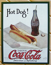 Hot Dog! Coca Cola bottle coke ad TIN SIGN vtg retro diner metal wall decor 1302