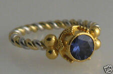 granulated 22K 18K gold SS ring iolite size 4
