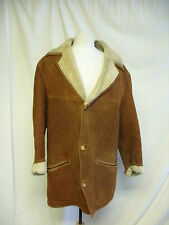 "Mens Coat- Draper,Chest 38"" Brown/Cream Fur Lining, Discoloured in places -2103"