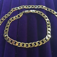 "MATCHING SET unisex 22"" necklace & 8"" bracelet gold gf curb chains BOXED Plum UK"