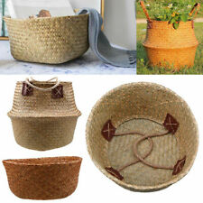 US Seagrass Handmade Storage Basket Plant Pot Foldable Organizer Box Home Decor