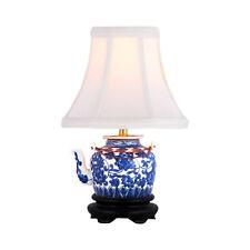 "Blue and White Tea Pot Porcelain Table Lamp 12.5"""