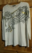 Very Pretty Top With Owl Motif Age 12 - 13 Years Height 152- 158  In Cream