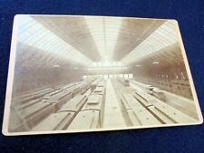 OLD ALBUMEN/CABINET CARD: NEW YORK CITY~GRAND CENTRAL~INTERIOR~STATION~TRAINS
