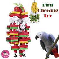 Pet Chewing Parrot Bird Toys Apple Banana Vine Wood Rope Ladder Hanging Cave -